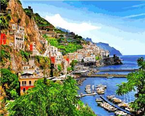 Фото Картины на холсте по номерам, Морской пейзаж Q 2199 Город у моря Роспись по номерам на холсте 40х50см