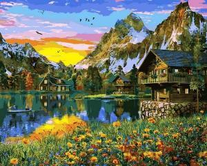 Фото Наборы для вышивания, Вышивка крестом с нанесенной схемой на конву, Пейзаж VP1145 Деревня у горного озера Картина по номерам на холсте 40х50см