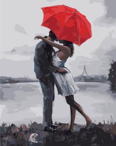 Фото Картины на холсте по номерам, Романтические картины. Люди KGX 8605 Поцелуй под зонтом  Картина по номерам  40х50см в коробке