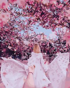 Фото Картины на холсте по номерам, Романтические картины. Люди KGX 30568 Следуй за мной Японский сад Картина по номерам  40х50см в коробке