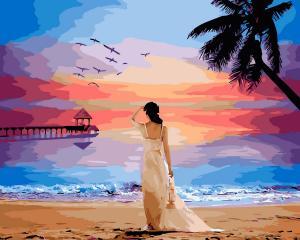 Фото Картины на холсте по номерам, Романтические картины. Люди KGX 29454 Тропический рассвет Картина по номерам  40х50см в коробке