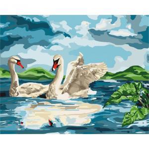 Фото Картины на холсте по номерам, Животные. Птицы. Рыбы... KH 4147 Возле озера  Картина по номерам на холсте 40х50см
