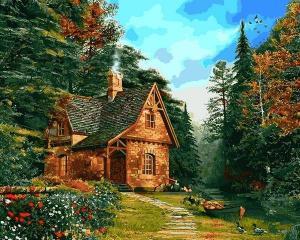 Фото Картины на холсте по номерам, Загородный дом Q2205 Домик на опушке леса Роспись по номерам на холсте 40х50см