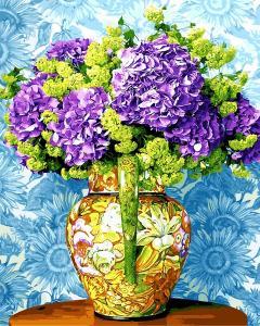 Фото Картины на холсте по номерам, Букеты, Цветы, Натюрморты VP 1167 Красочный букет сирени Роспись по номерам на холсте. 40х50см