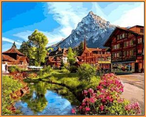 Фото  NBR 1147 Альпийский городок (цветной холст в рамке)  Premium 40x50см