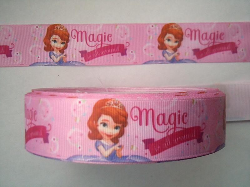 Фото Ленты, Лента репсовая с рисунком Лента  Репсовая  2,5 см.   Розовая  с  принцесой  Софией