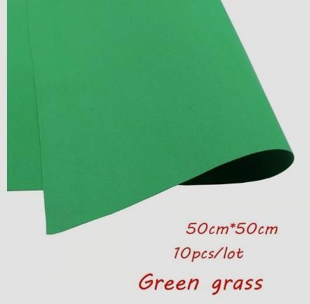 Фото Экокожа  с  глитером ,  и  Фоамиран  гладкий  и  с  глитером ,  Фоамиран  50 * 50 см.   толщина  1 мм.   Зелёный.