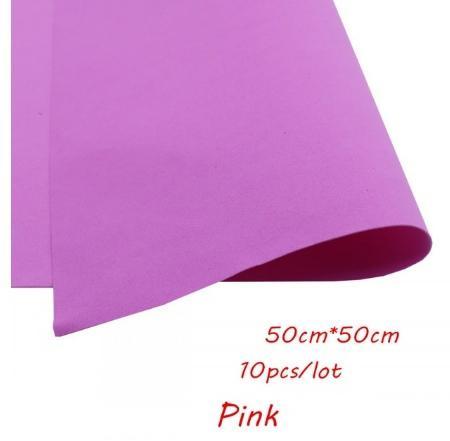 Фото Экокожа  с  глитером ,  и  Фоамиран  гладкий  и  с  глитером ,  Фоамиран  50 * 50 см.   толщина  1 мм.   Ярко - Розовый.