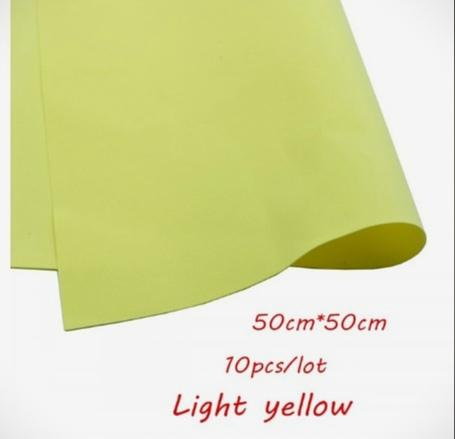 Фото Экокожа  с  глитером ,  и  Фоамиран  гладкий  и  с  глитером ,  Фоамиран  50 * 50 см.   толщина  1 мм.   Светлый .  Жёлто - Оливковый .