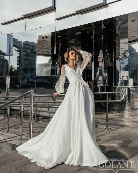 Непышное атласное свадебное платье Ева