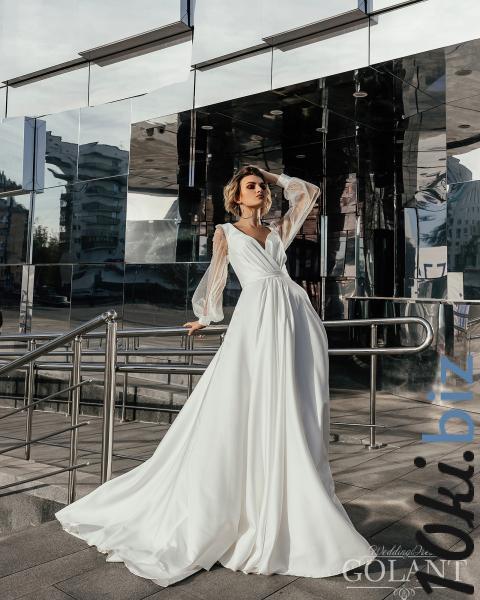 Свадебные платья - Непышное атласное свадебное платье Ева