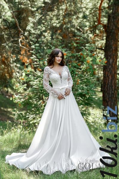 Свадебные платья - Закрытое атласное свадебное платье Арабелла
