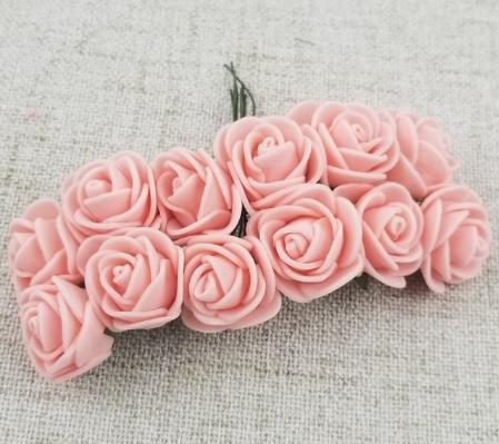 Фото Цветы искусственные, Розочки  латексные  в  ассортименте. Розочки латексные  2,5 см.  Персикового цвета.  1 упаковка 12 розочек .