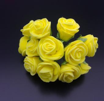 Фото Цветы искусственные, Розочки  латексные  в  ассортименте. Розочки латексные  2,5 см.  Жёлтого цвета.  1 упаковка  12  розочек .