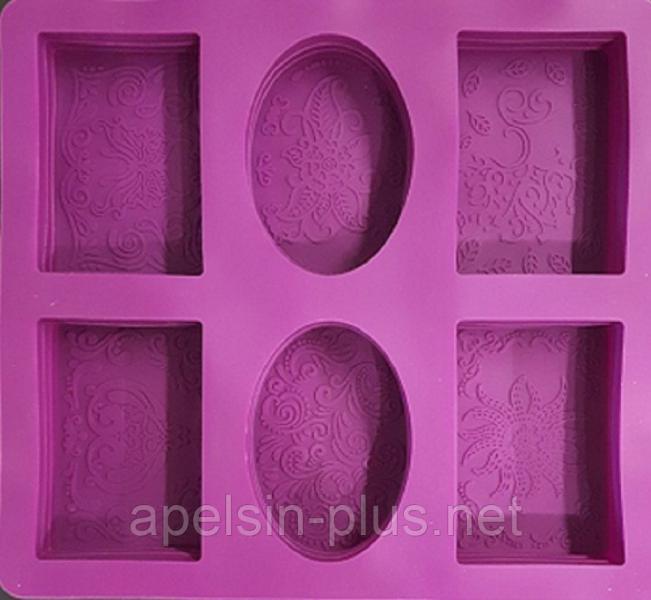 Форма силиконовая для мыла с декором на 6 брусков