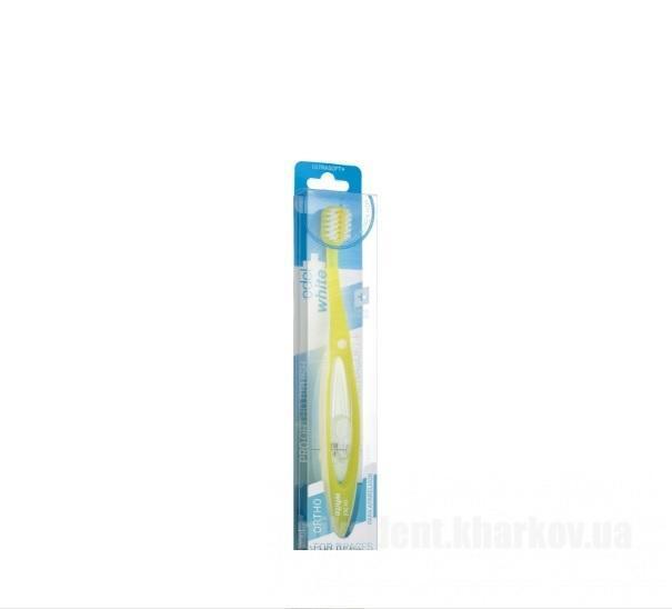 Фото Для стоматологических клиник, Расходные материалы Ортодонтическая зубная щетка, желтая - (Edel+White Pro Ortho Toothbrush)