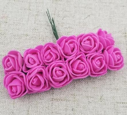 Фото Цветы искусственные, Розочки  латексные  в  ассортименте. Розочки латексные  2,5 см.  Ярко - Розового  цвета.  1 упаковка  12  розочек .