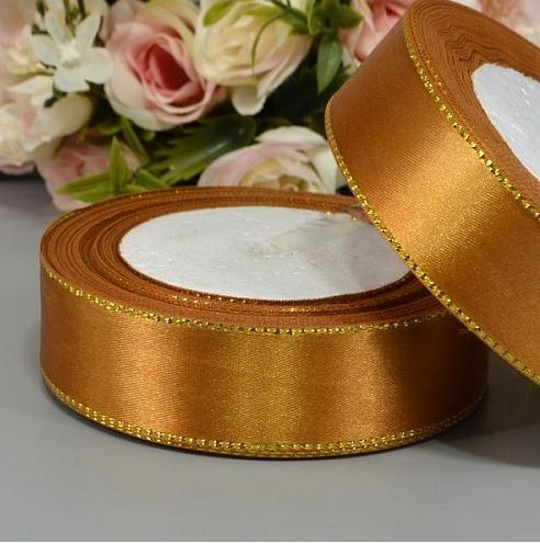 Фото Ленты, Лента атласная однотонная 2,5 см и с люрексом Атласная лента золото с люрексом 2.5 см