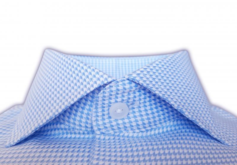 Фото Мужские рубашки Чоловіча сорочка Michael Schaft блакитно-біла з плетінням «ялинка» Slim Fit