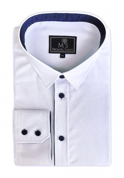 Фото Мужские рубашки Чоловіча сорочка Michael Schaft біла з деталями синього кольору Classic Fit