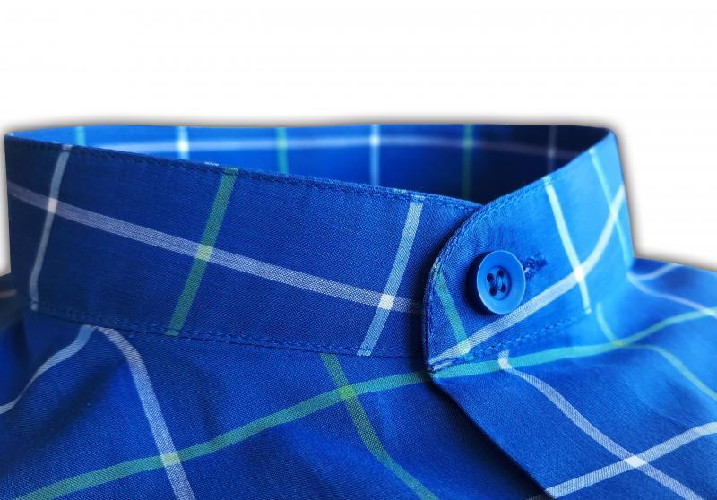 Фото Мужские рубашки Чоловіча сорочка Michael Schaft синя у біло-зелену клітинку Slim Fit
