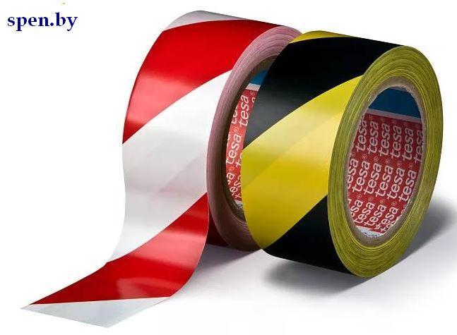 """Клейкая лента сигнальная предупреждающая """"Scotch"""", 50 мм, 33 м., плотная, черно-желтая и бело-красная"""