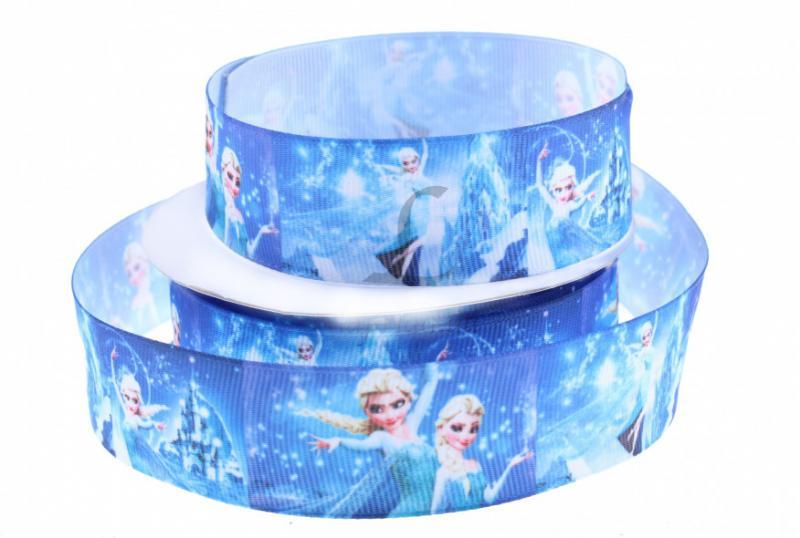 Фото Ленты, Лента репсовая с рисунком Лента  репсовая  2,5 см.  с  Принцессой  Эльзой  на  синем  фоне.  ( Упаковка  остаток  1м 3 см. )