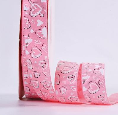 Фото Ленты, Лента репсовая с рисунком Репсовая  лента  2,5 см.  Розовая  в   разных  сердечках . ( Упаковка  остаток 1 м. )