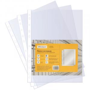 Фото Папки, файлы, планшеты, портфели, сумки (ЦЕНЫ БЕЗ НДС), Папки-карман(Файлы) Папка-вкладыш с перфорацией OfficeSpace, А4, 30 мкм толщина, глянцевая,100 шт.