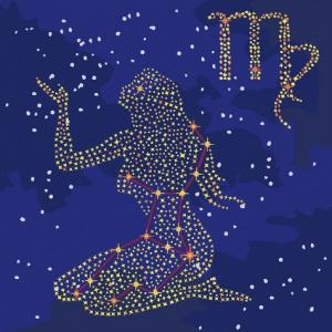 Фото  KH 9512 Звездный знак Дева (с краской металлик) Роспись по номерам на холсте 50х50см