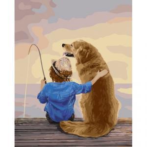 Фото Картины на холсте по номерам, Дети на картине KH 2341 На рыбалке Картина по номерам на холсте 40х50см
