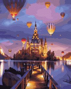 Фото Картины на холсте по номерам, Картины  в пакете (без коробки) 50х40см; 40х40см; 40х30см, Пейзаж, морской пейзаж. GX 33657 Воздушные шары на замком Картина по номерам на холсте 40х50см, без коробки