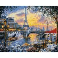 Фото  VP 1030 Париж на закате Роспись по номерам на холсте 40х50см