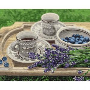 Фото Картины на холсте по номерам, Букеты, Цветы, Натюрморты KH 5600 Лавандовый завтрак Картина  по номерам на холсте 40х50см