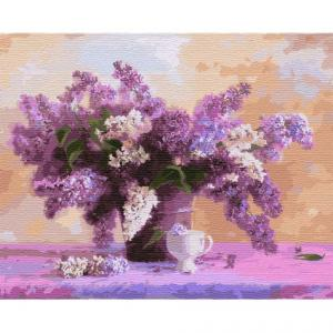 Фото Картины на холсте по номерам, Букеты, Цветы, Натюрморты KH 3111 Яркий букет сирени Картина  по номерам на холсте 40х50см