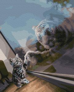Фото Картины на холсте по номерам, Картины  в пакете (без коробки) 50х40см; 40х40см; 40х30см, Животные, птицы, рыбы GX 38367 Дух тигра Картина по номерам на холсте 40х50см, без коробки