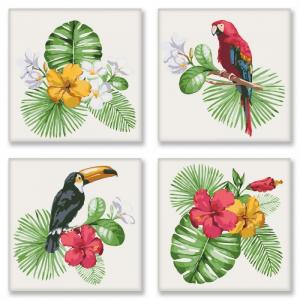 Фото Картины на холсте по номерам, Картины  в пакете (без коробки) 50х40см; 40х40см; 40х30см, Животные, птицы, рыбы KNP 007 Тропическое разнообразие Роспись по номерам на холсте 18х18см 4шт.