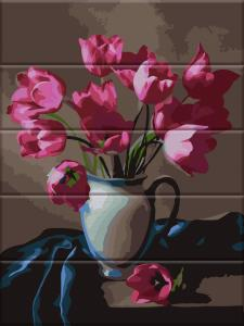 Фото  ASW 083 Прекрасные тюльпаны Картина по номерам на дереве 30х40 см