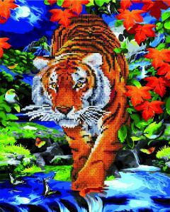 Фото  GZS 1098 Тигр на реке Алмазная картина-раскраска (смешанная техника)