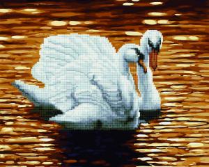 Фото  GZS 1112 Лебеди на закате Алмазная картина-раскраска (смешанная техника)