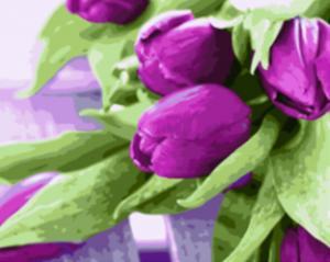Фото Картины на холсте по номерам, Букеты, Цветы, Натюрморты KGX 21540 Тюльпаны на столе Картина по номерам на холсте 40х50см