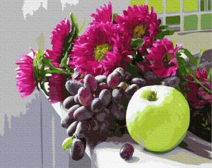 Фото Картины на холсте по номерам, Букеты, Цветы, Натюрморты KGX 34046 Осенние дары Картина по номерам на холсте 40х50см