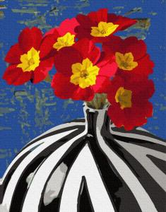 Фото Картины на холсте по номерам, Букеты, Цветы, Натюрморты KGX 34152 Цветы в сюрреалистической вазе Картина по номерам на холсте 40х50см