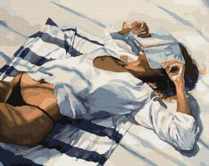 Фото Картины на холсте по номерам, Романтические картины. Люди KGX 34193 Пляжный отдых Картина по номерам на холсте 40х50см