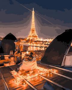 Фото Картины на холсте по номерам, Городской пейзаж KGX 25447 Романтика ночного Парижа Картина по номерам на холсте 40х50см без коробки, в пакете