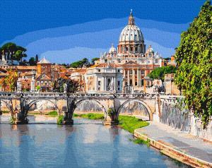 Фото Картины на холсте по номерам, Городской пейзаж KGX 28759 Базилика Святого Петра Картина по номерам на холсте 40х50см