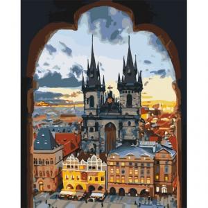 Фото Картины на холсте по номерам, Городской пейзаж KH 3568 Злата Прага Картина по номерам на холсте 40х50см