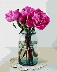 Фото Картины на холсте по номерам, Букеты, Цветы, Натюрморты AS 0685 Яркие пионы Картина по номерам на холсте Art Story 40x50см