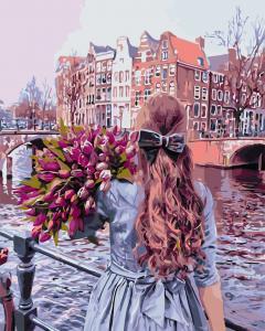 Фото Картины на холсте по номерам, Романтические картины. Люди AS 0691 Прогулка по Амстердаму Картина по номерам на холсте Art Story 40x50см