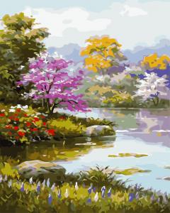 Фото Наборы для вышивания, Вышивка крестом с нанесенной схемой на конву, Пейзаж AS 0713 Цветущий сад Картина по номерам на холсте Art Story 40x50см